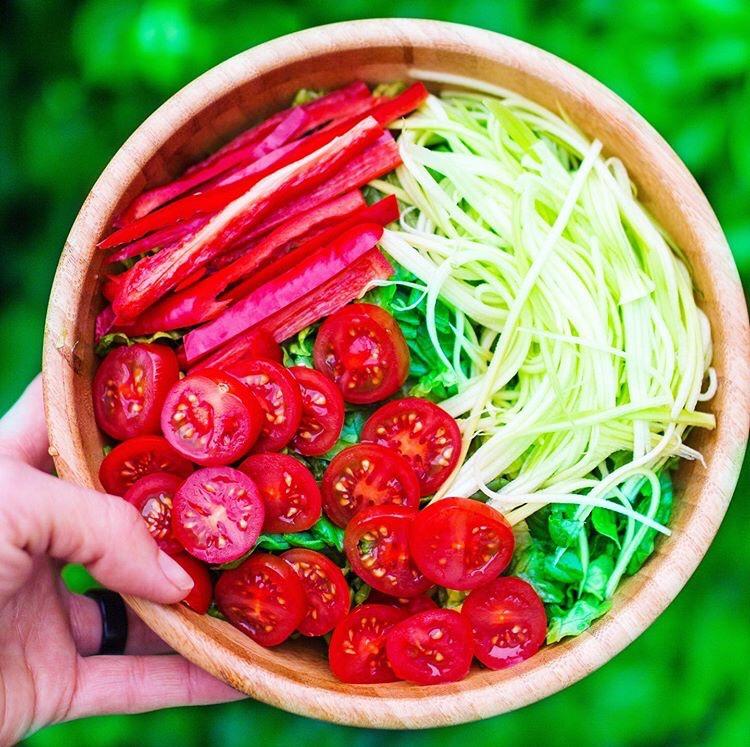 Raw vegan salad. Colourfull salad.   Healthy food.